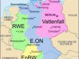 Mapa zasięgu niemieckich koncernów energetycznych